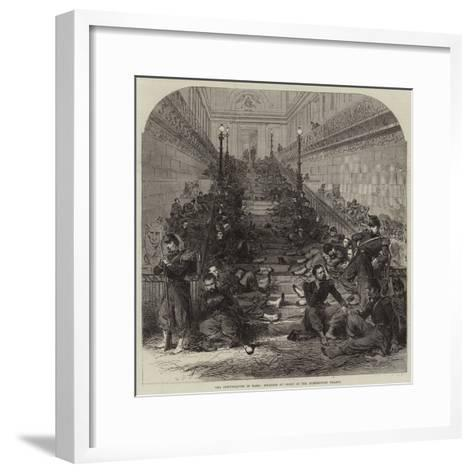 The Disturbances in Paris, Soldiers at Night in the Luxembourg Palace--Framed Art Print