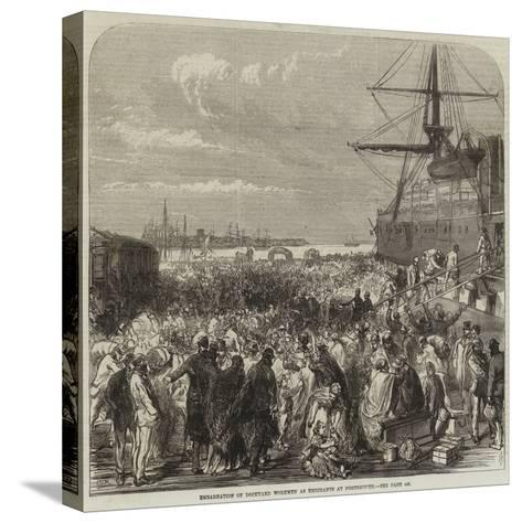 Embarkation of Dockyard Workmen as Emigrants at Portsmouth--Stretched Canvas Print