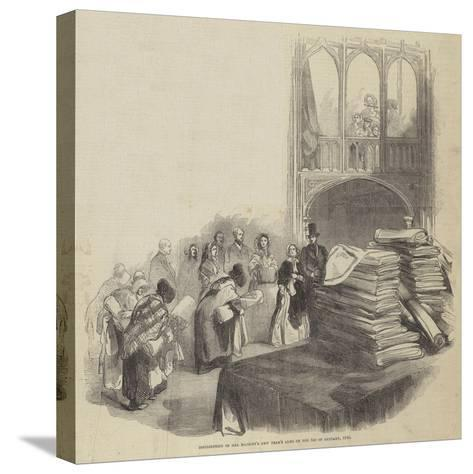 Distribution of Her Majesty's New Year's Alms on 1 January 1846--Stretched Canvas Print