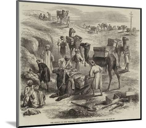 The Isthmus of Suez Maritime Canal, Workmen Loading Dromedaries--Mounted Giclee Print
