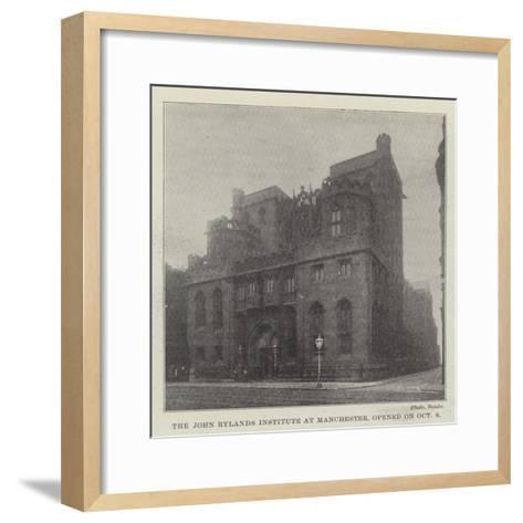 The John Rylands Institute at Manchester, Opened on 6 October--Framed Art Print