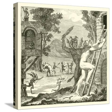 Devils Would Often Lay Hold of Men and Flog Them. Abbe Boileau--Stretched Canvas Print