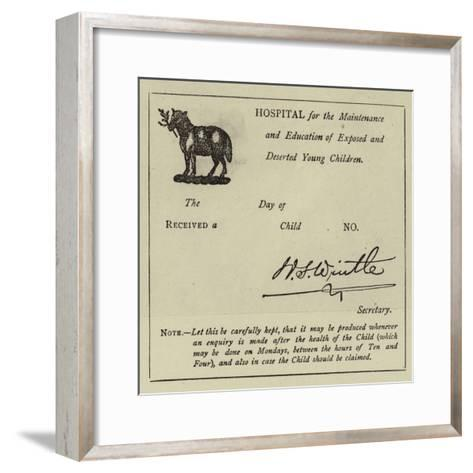 Receiving a Child at the Foundling Hospital--Framed Art Print