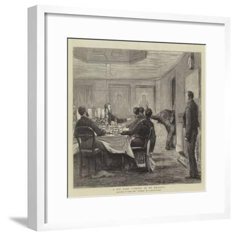 A Big Baby Coming in to Dessert--Framed Art Print