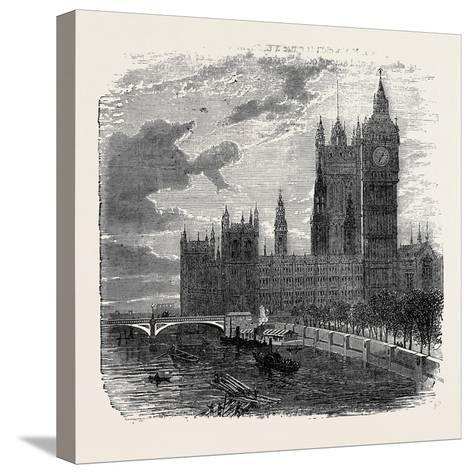 Views on the Embankment, Westminster, London, 1870, UK--Stretched Canvas Print