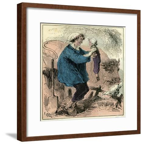 Farmer Child 19th Century Chicken Spade Country Side France--Framed Art Print