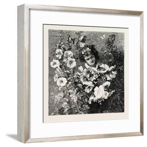 Girl Amongst Flowers, Fashion, 1882--Framed Art Print