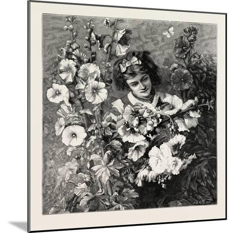 Girl Amongst Flowers, Fashion, 1882--Mounted Giclee Print