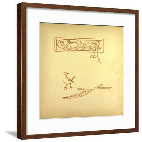 A Bird and a Feather and a Mouse Shooting at a Lion--Framed Art Print