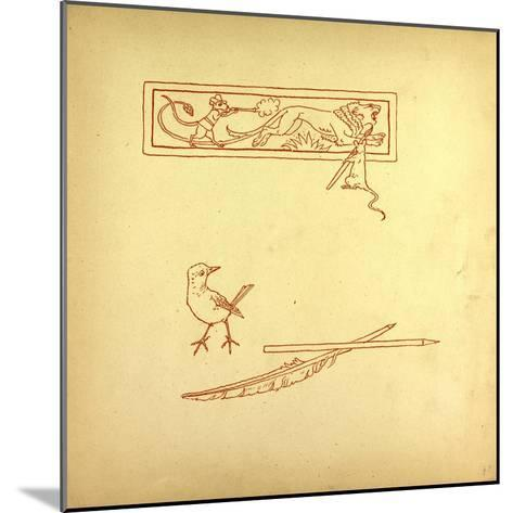 A Bird and a Feather and a Mouse Shooting at a Lion--Mounted Giclee Print