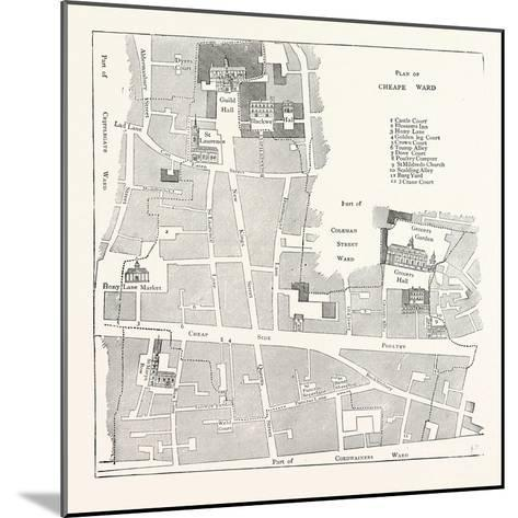 Old Map of the Ward of Cheap About 1750 London--Mounted Giclee Print