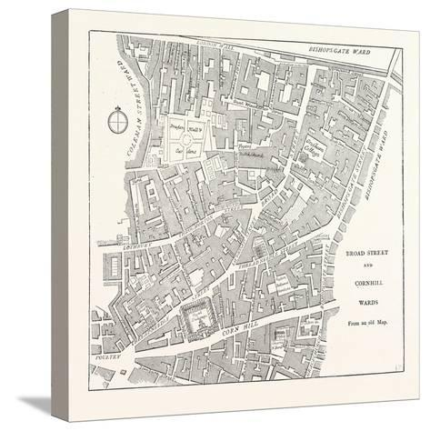Broad Street and Cornhill Wards from a Map of 1750, London--Stretched Canvas Print