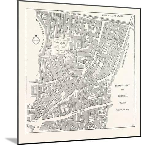 Broad Street and Cornhill Wards from a Map of 1750, London--Mounted Giclee Print