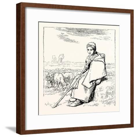 Shepherding, La Bergere, Shepherd--Framed Art Print