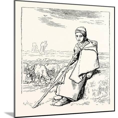 Shepherding, La Bergere, Shepherd--Mounted Giclee Print