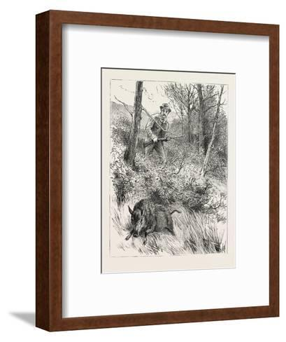 Starts a Pig While Looking for Woodcock, 1884--Framed Art Print