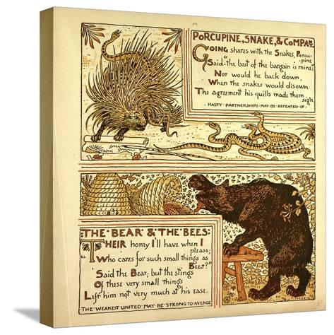 Porcupine Snake and Company the Bear and the Bees--Stretched Canvas Print