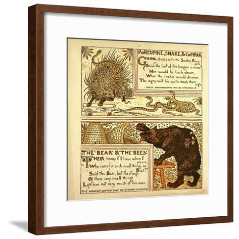 Porcupine Snake and Company the Bear and the Bees--Framed Art Print