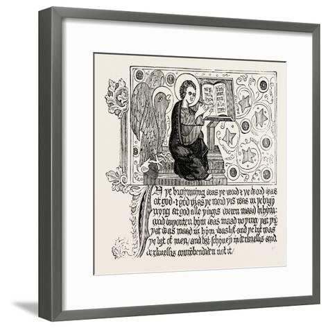 Passage from the First English Bible: Gospel of St. John Ch. I--Framed Art Print