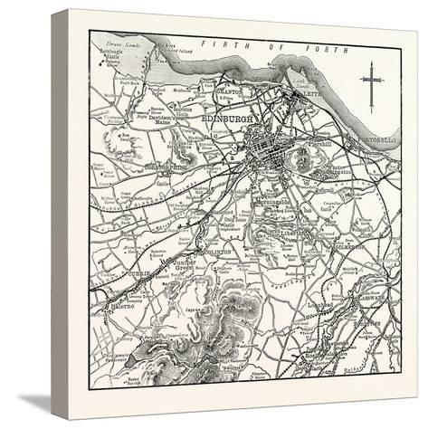 Map of the Environs of Edinburgh--Stretched Canvas Print