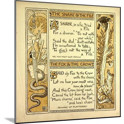 The Snake and the File the Fox and the Crow--Mounted Giclee Print