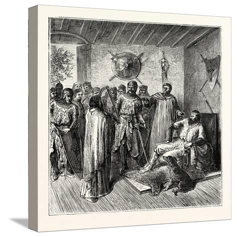The Harper in the Baron's Hall 12th Century--Stretched Canvas Print