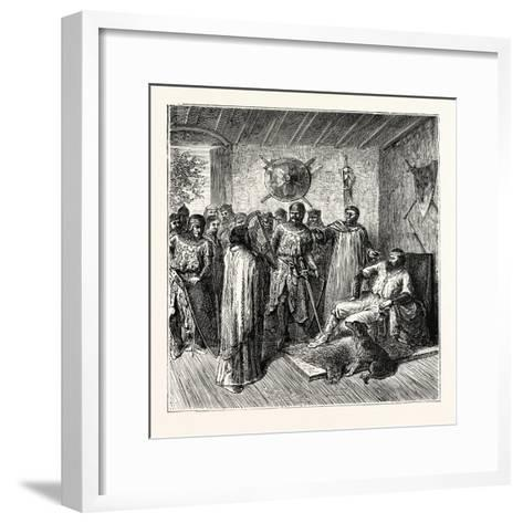 The Harper in the Baron's Hall 12th Century--Framed Art Print