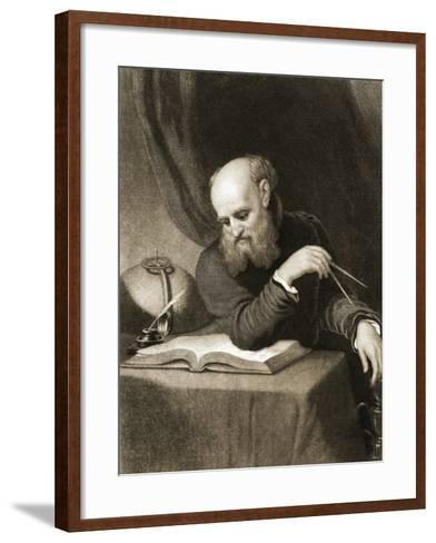 Galileo with Compass and Diagrams, C.1880--Framed Art Print