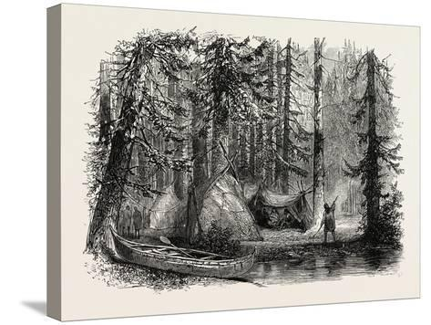 Primeval Forest and Indian Lodges, USA, 1870s--Stretched Canvas Print