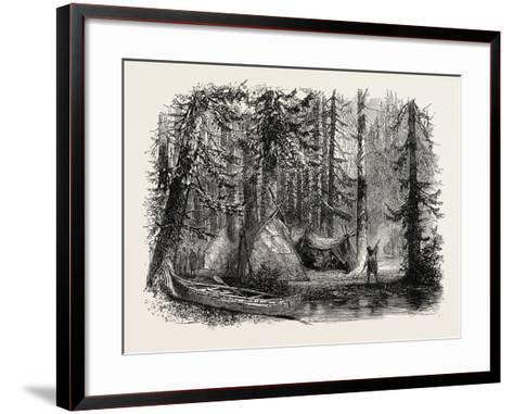Primeval Forest and Indian Lodges, USA, 1870s--Framed Art Print