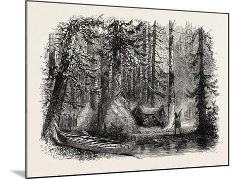 Primeval Forest and Indian Lodges, USA, 1870s--Mounted Giclee Print