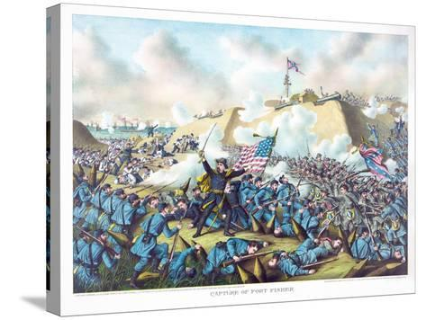 Capture of Fort Fisher, Pub. Kurz and Allison, 1890--Stretched Canvas Print