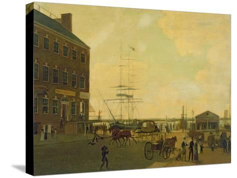 Foot of Cortlandt Street, New York City, C.1818-49--Stretched Canvas Print
