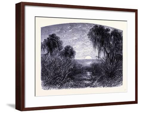 Sunset on the Mississipi United States of America--Framed Art Print