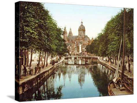 View Down Voorburgwal to Sint-Nicolaasbasiliek, Amsterdam, Pub. C.1900--Stretched Canvas Print