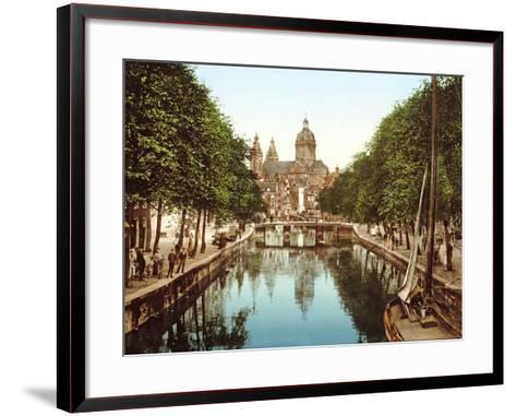 View Down Voorburgwal to Sint-Nicolaasbasiliek, Amsterdam, Pub. C.1900--Framed Art Print
