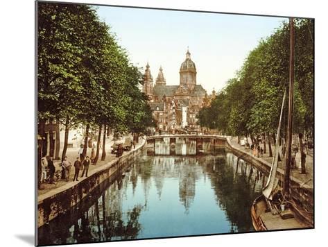 View Down Voorburgwal to Sint-Nicolaasbasiliek, Amsterdam, Pub. C.1900--Mounted Giclee Print