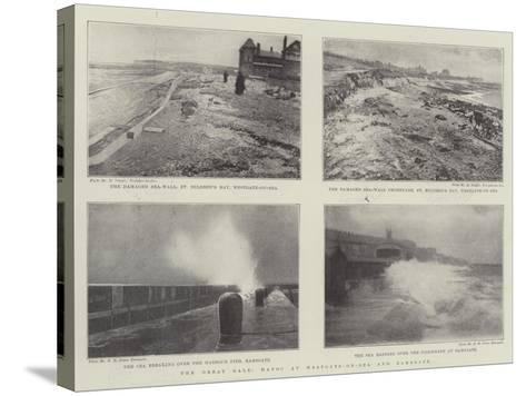 The Great Gale, Havoc at Westgate-On-Sea and Ramsgate--Stretched Canvas Print
