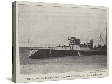 The Torpedo-Destroyer Dasher, Damaged in Collision--Stretched Canvas Print