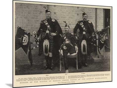 Heroes of the Battle of Dargai, Three Pipers of the Gordon Highlanders--Mounted Giclee Print