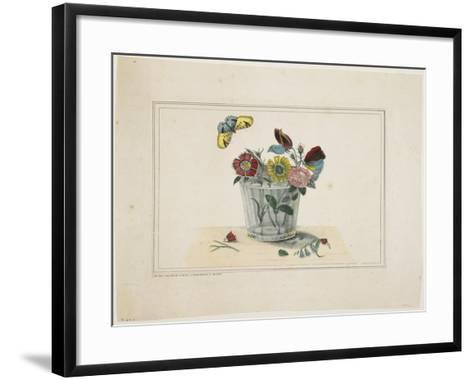 Flowers in a Glass, with Butterfly--Framed Art Print