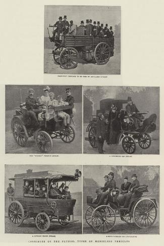 Carriages of the Future, Types of the Horseless Vehicles--Stretched Canvas Print