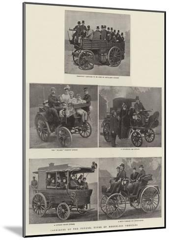 Carriages of the Future, Types of the Horseless Vehicles--Mounted Giclee Print