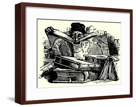 Man Reading Behind Large Books--Framed Art Print