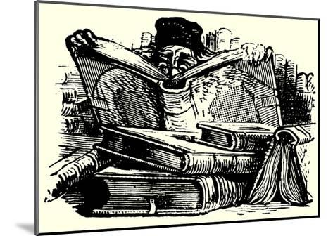 Man Reading Behind Large Books--Mounted Giclee Print