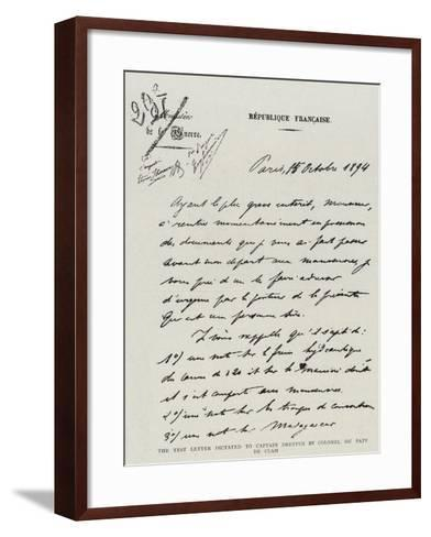 The Test Letter Dictated to Captain Dreyfus by Colonel Du Paty De Clam--Framed Art Print