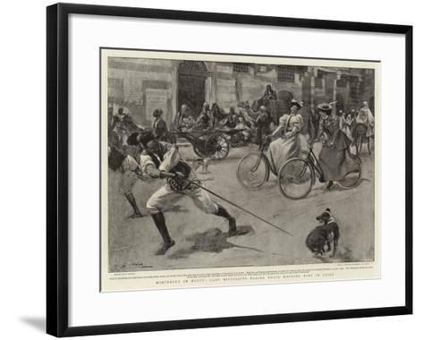 Wintering in Egypt, Lady Bicyclists Taking their Morning Ride in Cairo--Framed Art Print