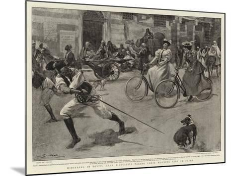 Wintering in Egypt, Lady Bicyclists Taking their Morning Ride in Cairo--Mounted Giclee Print