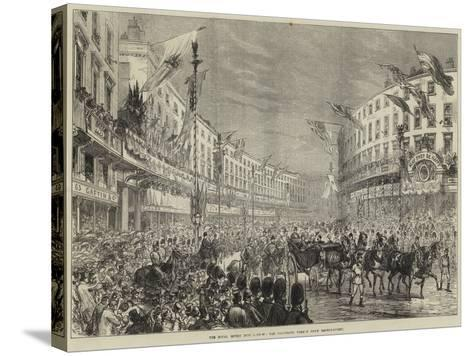 The Royal Entry into London, the Procession Passing Down Regent-Street--Stretched Canvas Print