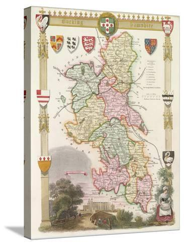 Buckinghamshire with Illustrations of Eton College Chapel--Stretched Canvas Print